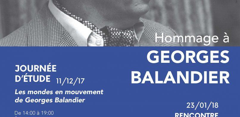 23/01 : Rencontre-débat «Autour de Georges Balandier»