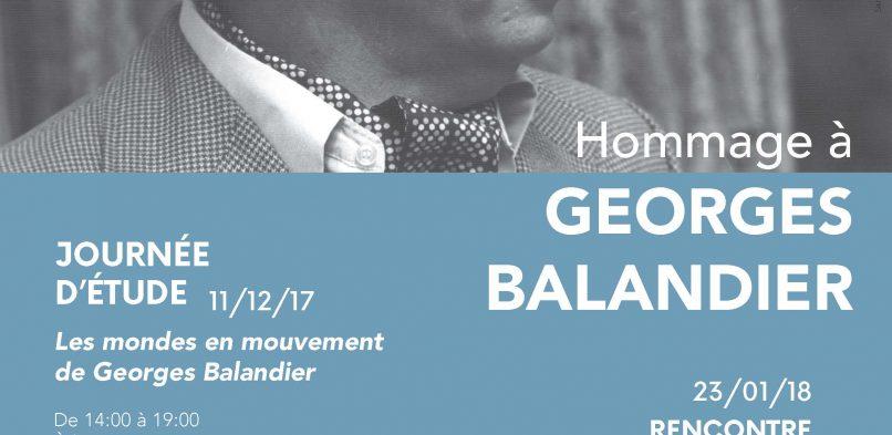 29/03 : Conférence publique « Jusqu'où la situation coloniale définie par Georges Balandier permet-elle de penser le monde contemporain ? »