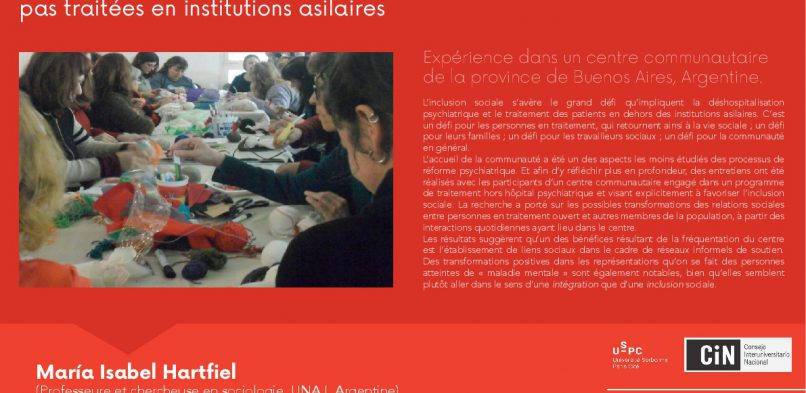 03/05 : «Santé mentale et inclusion sociale» – Séminaire projet IDEX USPC-CIN