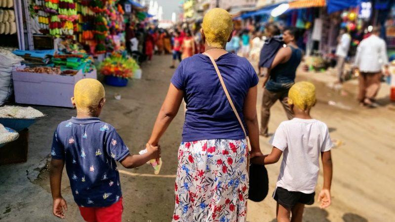 Vidhya et ses enfants en pélerinage chrétien à Velankanni, 2019 : © Manganelli